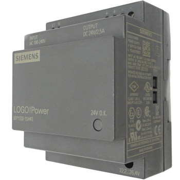 SIEMENS 6EP1332-1SH43 LOGO!POWER Switch Mode DIN Rail Panel Mount Power Supply 100 to 240V ac Input Voltage, 24Vdc Output