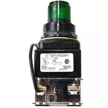 SIEMENS 52PX6G3AY OIL-TIGHT PILOT LIGHT PUSHBUTTON GREEN LED 120VAC 1NO/1NC
