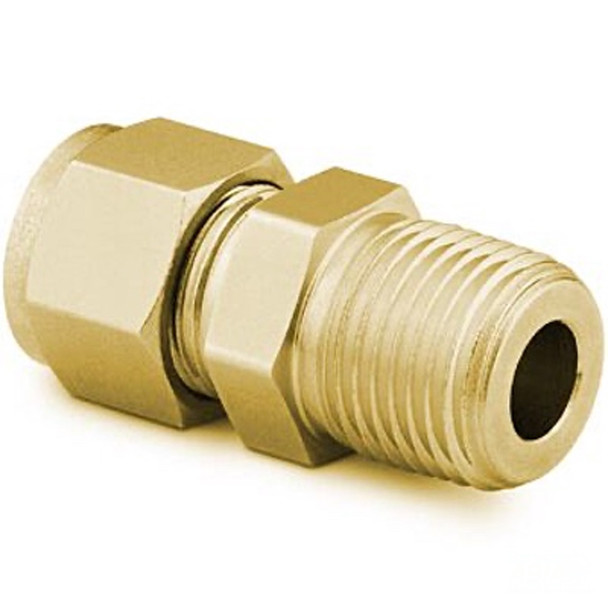 SWAGELOK B-810-1-8 Brass Tube Fitting, Male Connector, 1/2 in. Tube OD x 1/2 in. Male NPT