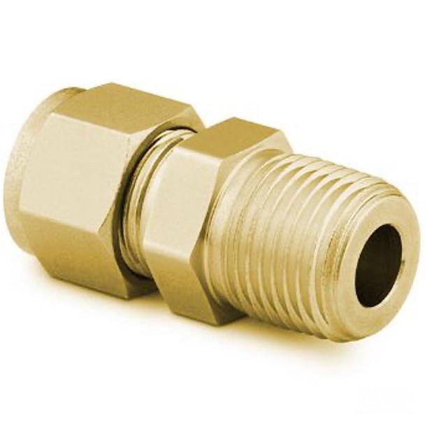 SWAGELOK B-810-1-4 Brass Tube Fitting, Male Connector, 1/2 in. Tube OD x 1/4 in. Male NPT