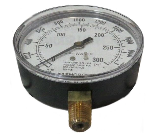 ASHCROFT 35W-1005-P-02L-XUL PRESSURE GAUGE 0-300PSI BOTTOM MOUNT 1/4IN NPT