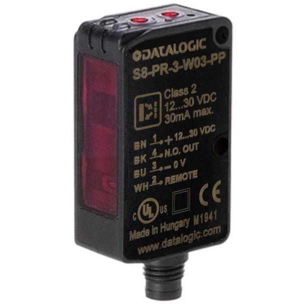 Datalogic S8-PR-3-W03-PP Contrast Sensor, Datalogic, RGB, S8 Series, Compact, M8 Connector, PNP