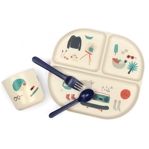 Bamboo Kids Dinner Set - Illustrated - Blue