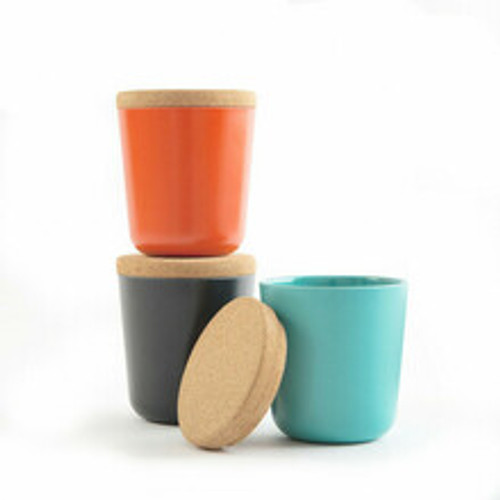 large bamboo storage canisters orange teal and black by ekobo