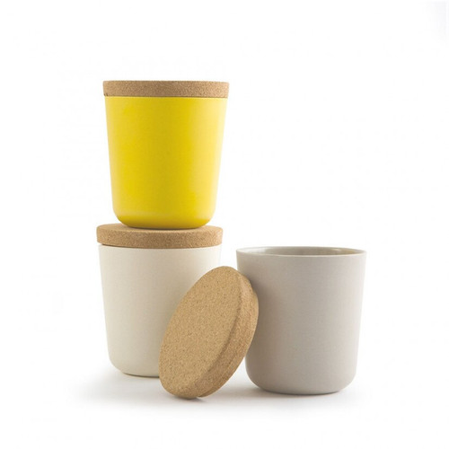 Large Bamboo Storage Canister Set - Yellow, Beige, White