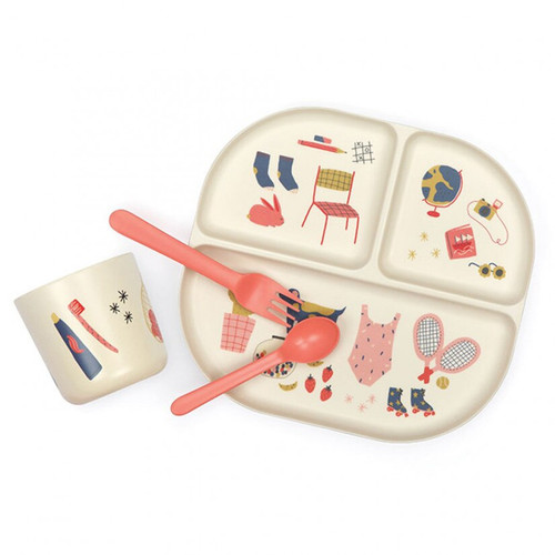 Kids Bamboo Dinner Set - Illustrated - Coral