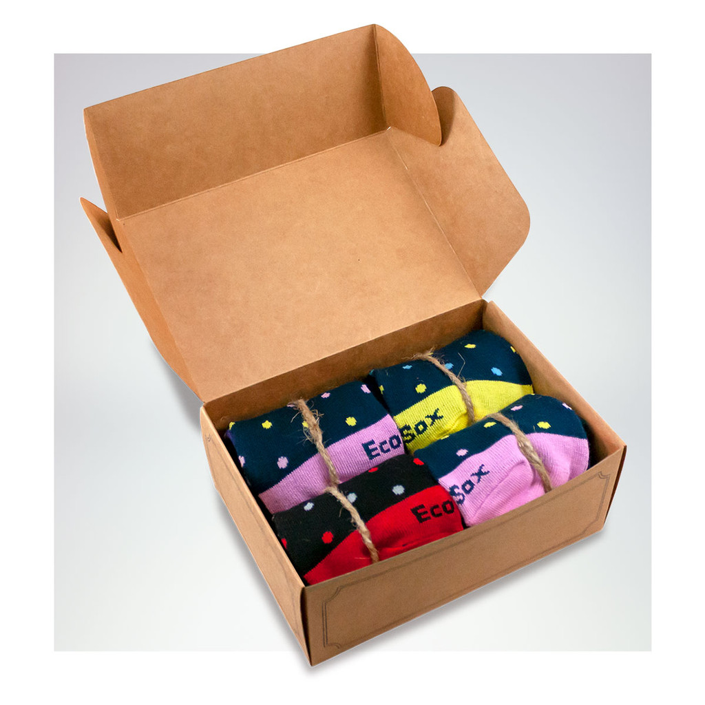 The EcoSox Gift Box of striped socks.