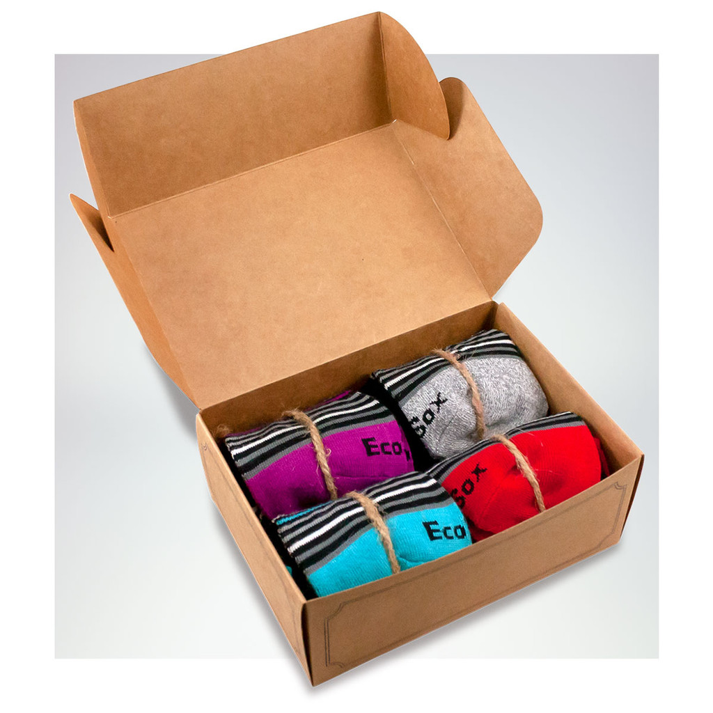The EcoSox Gift Box of polka dotted socks.