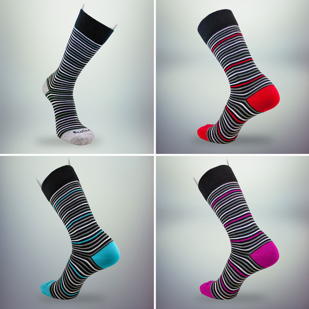 Choose a set of striped socks for the gift box.