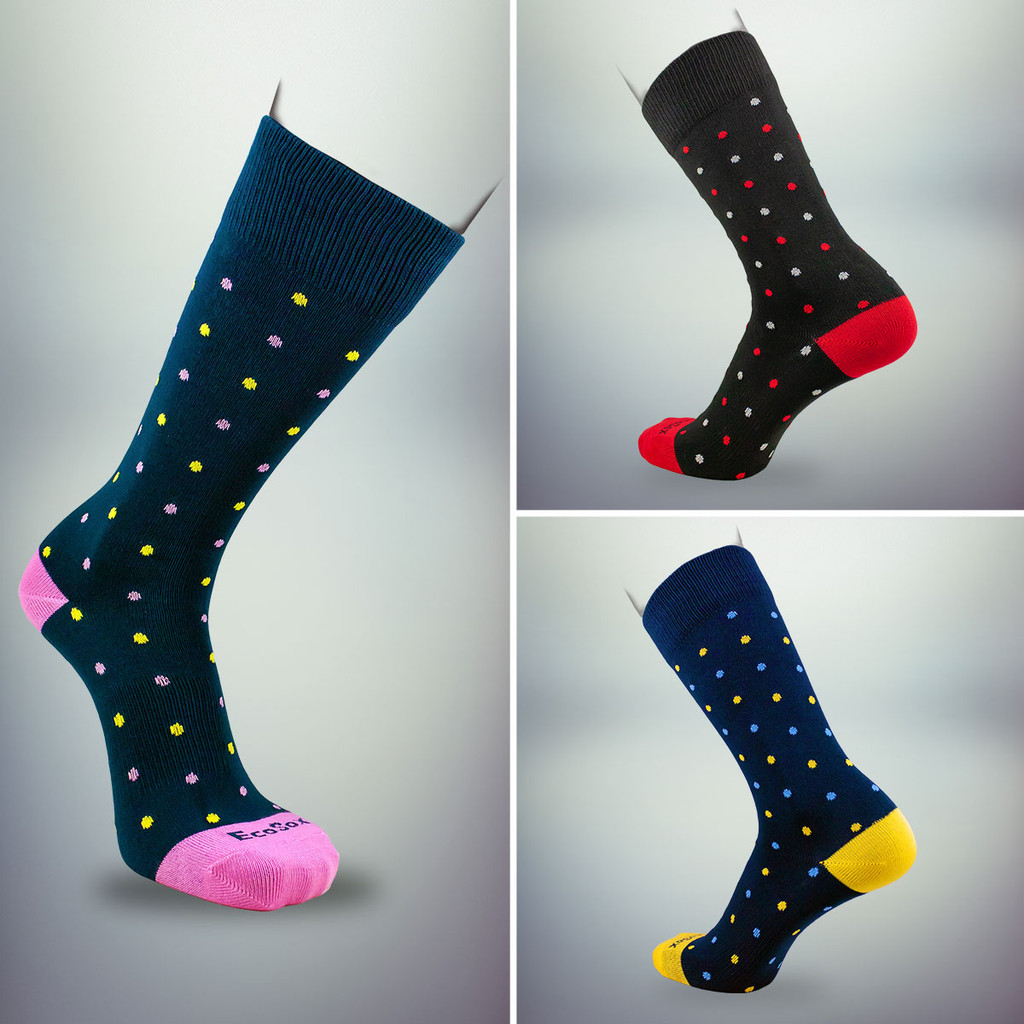 Choose a soft polka dotted socks for the gift box.