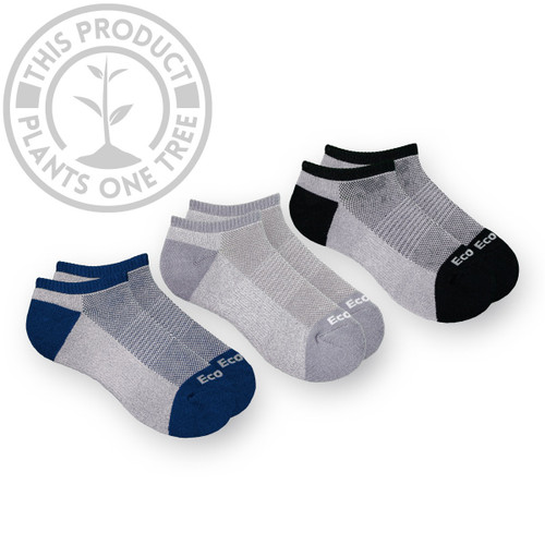 3 Pack Bamboo Low Profile Sports - Navy, Grey, Black
