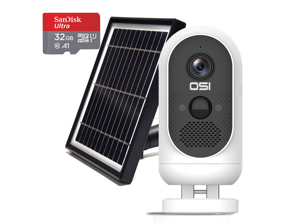 OSI Wire-Free 1080p WiFi Battery Camera w/ Solar Panel