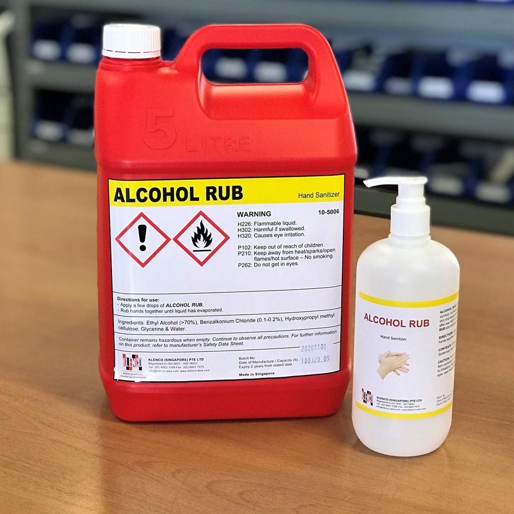 Hand Sanitiser; Alcohol Rub Hand Sanitiser 5 Litre Bottle with 500ml Pump Dispenser (empty); Free Delivery