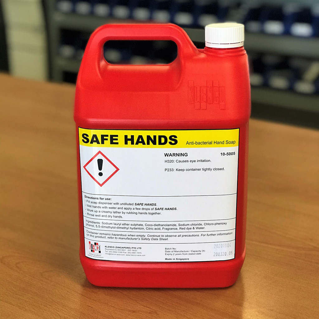 Liquid Soap; Safe Hands Anti-Bacterial Hand Soap 5 Litre Refill Bottle