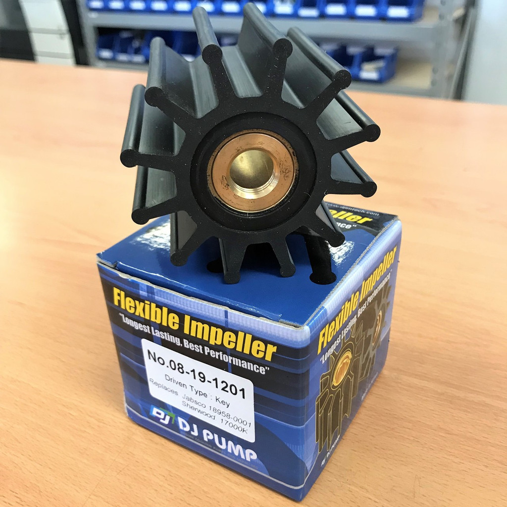 08-19-1201 DJ Pump Impeller; Jabsco 18958-0001; Sherwood 17000K