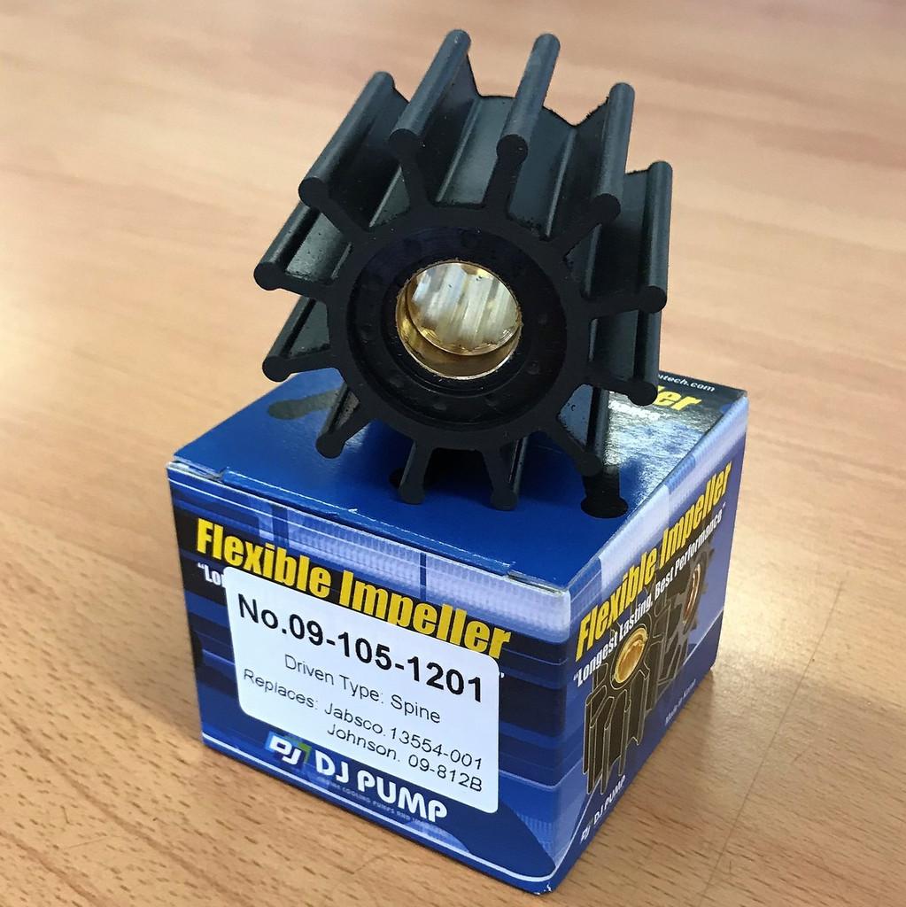 09-105-1201 DJ Pump Impeller; Replaces Jabsco 13554-001; Johnson 09-812b; Yanmar 11977342600