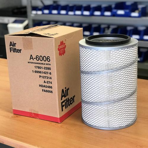 A-6006 Sakura Air Filter; Replaces 17801-2280; 1-89961427-8; P127314; A-274; HDA5486; FA6006