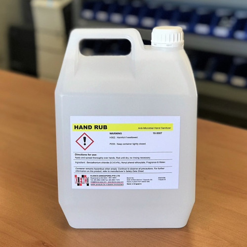 Hand Sanitiser; Hand Rub Anti-Microbial Hand Sanitiser; 5 Litre Refill Bottle; Non-Alcohol