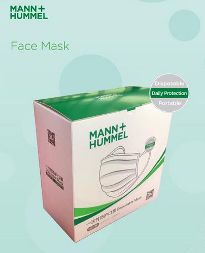 Face Masks; Box of 50; Mann + Hummel; BFE99 Melt Blown Fabric; Triple High Efficiency Filtration