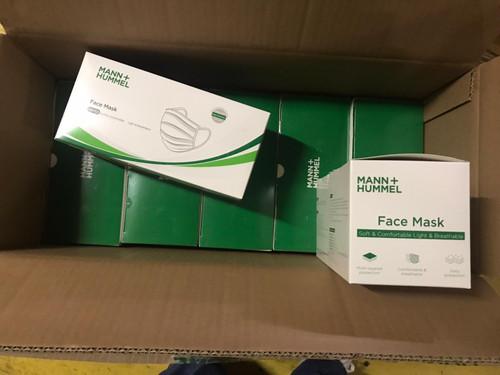 Face Masks - Box of 50;  Mann + Hummel; BFE99 Melt Blown Fabric; Triple High Efficiency Filtration