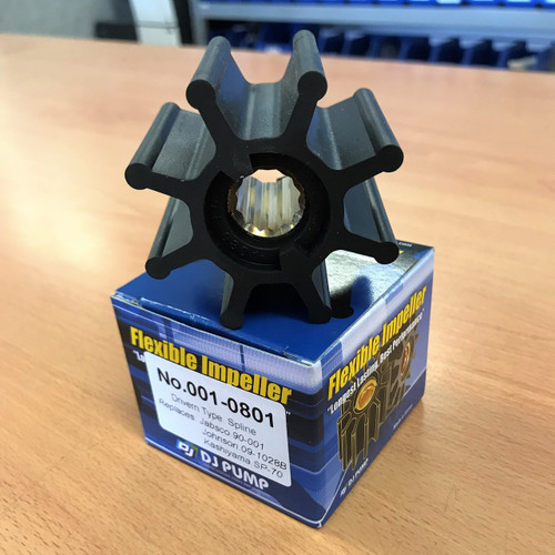 001-0801 DJ Pump Impeller; Replaces Jabsco 90-001; Johnson 09-1028B; Kashiyama SP-70, Sherwood 18200K, Kashiyama SP-70, Volvo 21951356, Yanmar 12761042270