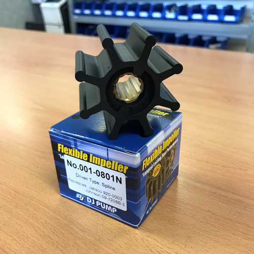 001-0801N DJ Pump Impeller; Replaces Jabsco 920-0003; Johnson 09-1208B-9