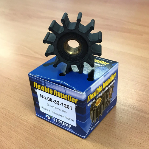 08-32-1201 DJ Pump Impeller; Replaces Sherwood 10077K; Onan 1320375, 1320498, 1320379, SW10077k
