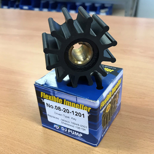 08-20-1201 DJ Pump Impeller; Replaces Jabsco 189480001; Sherwood 10615K; Onan 132-0348