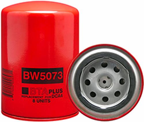 BW5073 Baldwin Coolant Spin-on with BTA PLUS Formula Replaces Agco 1076751M1; Case 690139C1; Caterpillar 226-6567; Cummins 3315115; Daewoo 9912-15115; Demag 692336; Hitachi 19305494; Versatile 104040; Volvo M12968028; Fleetguard WF2073