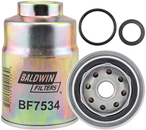 BF7534 Baldwin Fuel/Water Separator Spin-on with Threaded Port Replaces GMC 13240032; Isuzu 8-94483-850-0; Mitsubishi MB228988; Toro 60-5470
