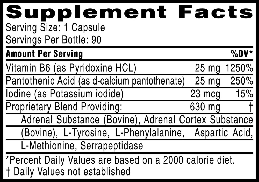 Adrenal Vita-Amino Complex: supplement facts panel