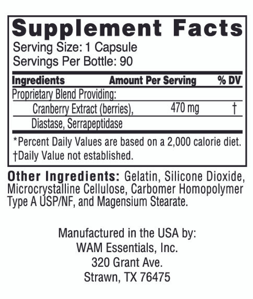 Cran-Diazyme®: supplement facts panel