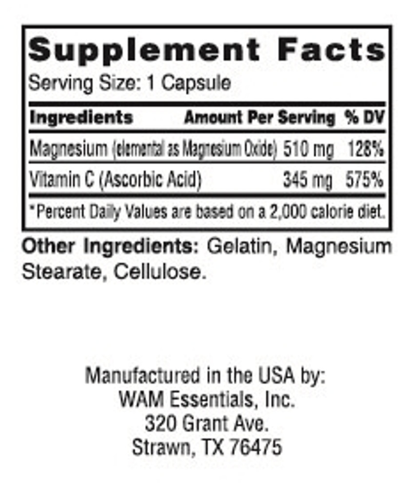 Magscorbate®: supplement facts panel