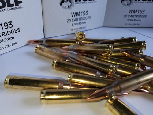 5.56 223 Premium Brass Wolf Gold WM193 200 Rounds of Ammunition