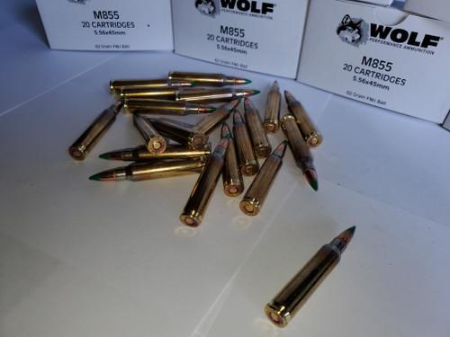 5.56 223 Premium Brass Wolf Gold M855 Green Tip Steel Core 200 Rounds