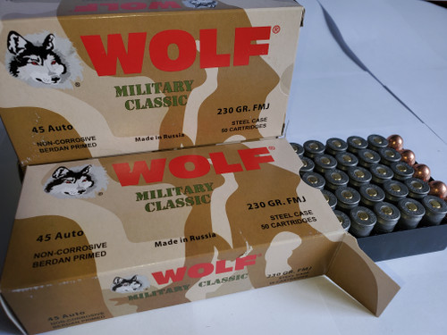 45 ACP Ammo 230gr FMJ Wolf WPA Military Classic 50 Round Box 100 Rounds
