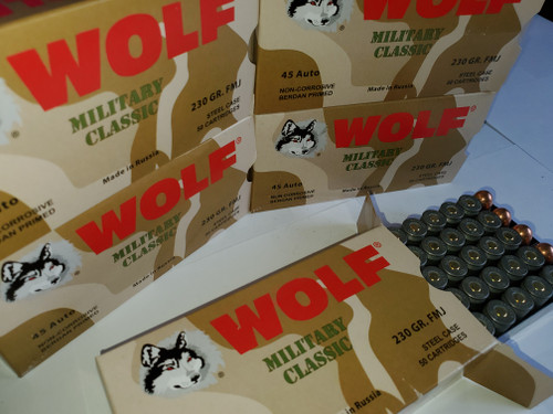ACP Ammo 230gr FMJ Wolf WPA Military Classic 50 Round Box 250 Rounds