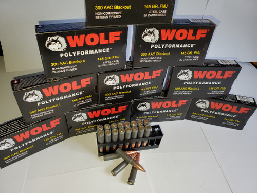 300 AAC Blackout Ammo 145gr FMJ Wolf Polyformance 200 Rounds