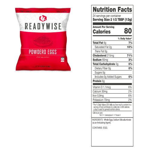 Emergency Freeze Dried Powdered Eggs - 144 Servings