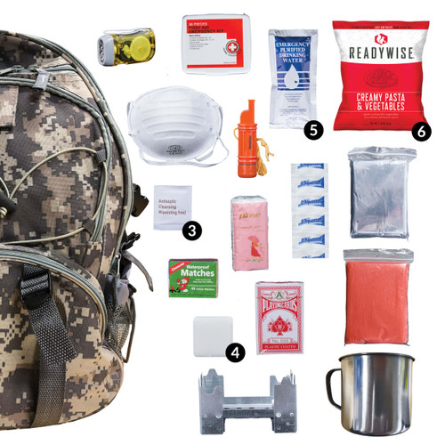64 Piece Survival Backpack [BLACK, RED, CAMO]