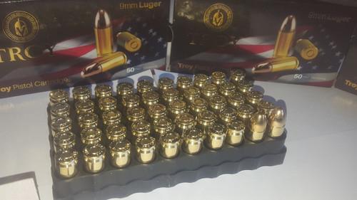 9mm 124gr FMJ Troy Premium Ammunition 50 Rounds 9x19