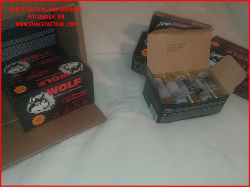 00' 12 gauge Ammunition Wolf 120 Rounds, 10x Boxes for 120 rounds.