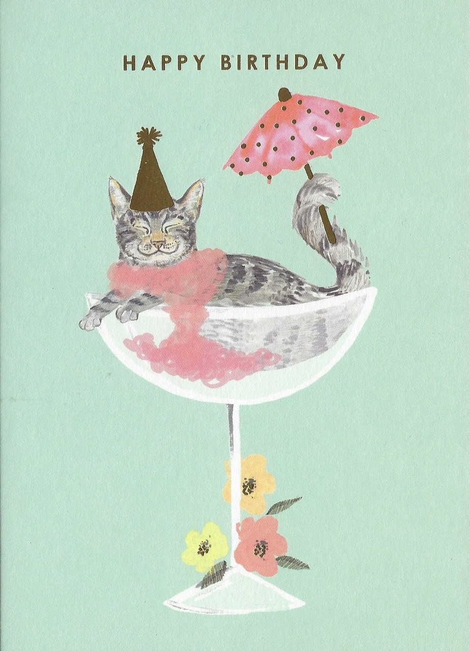Louise Tiler Kitty In A Cocktail Glass Birthday Card Treasure Cove Cards And Gifts