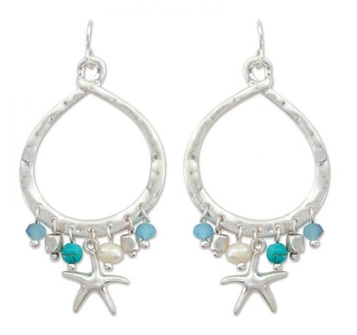 698b25391 Periwinkle by Barlow Seashell and Turquoise Dangle Earrings