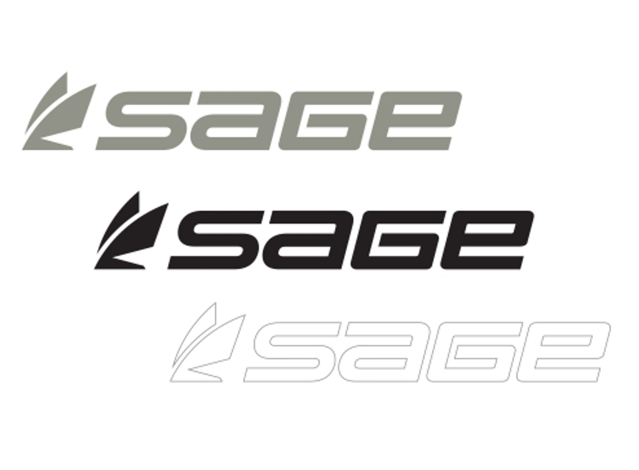 """Sage Decal Sticker 5.5/"""" 7.5/"""" 11/"""" Fly Fishing Rods Reels Line Tippet Tying Case"""