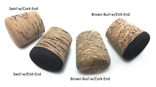 Solid end Burl Cork fighting butt or Eva Burl cork fighting butt with solid black EVA foam rear. Brown or Swirl Burl cork fighting butts