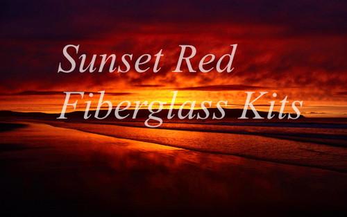 Sunset Red Fiberglass 4pc Fly Rod 'Ready-To-Wrap' Kits