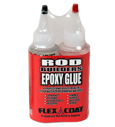 This is a professional, clear, high strength, waterproof bonding material. Perfect for gluing reel seats, ferrules, gimbles, handles, grips, roller tip tops, cork rings, butt caps and general repair. Flex Coat rod builders epoxy glue