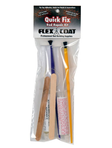 If you're in a hurry to repair your rod and want to get back on the water fast, this kit uses Flex Coat's Five Minute Epoxy to finish your guides. Flex Coat quick fix rod repair kit