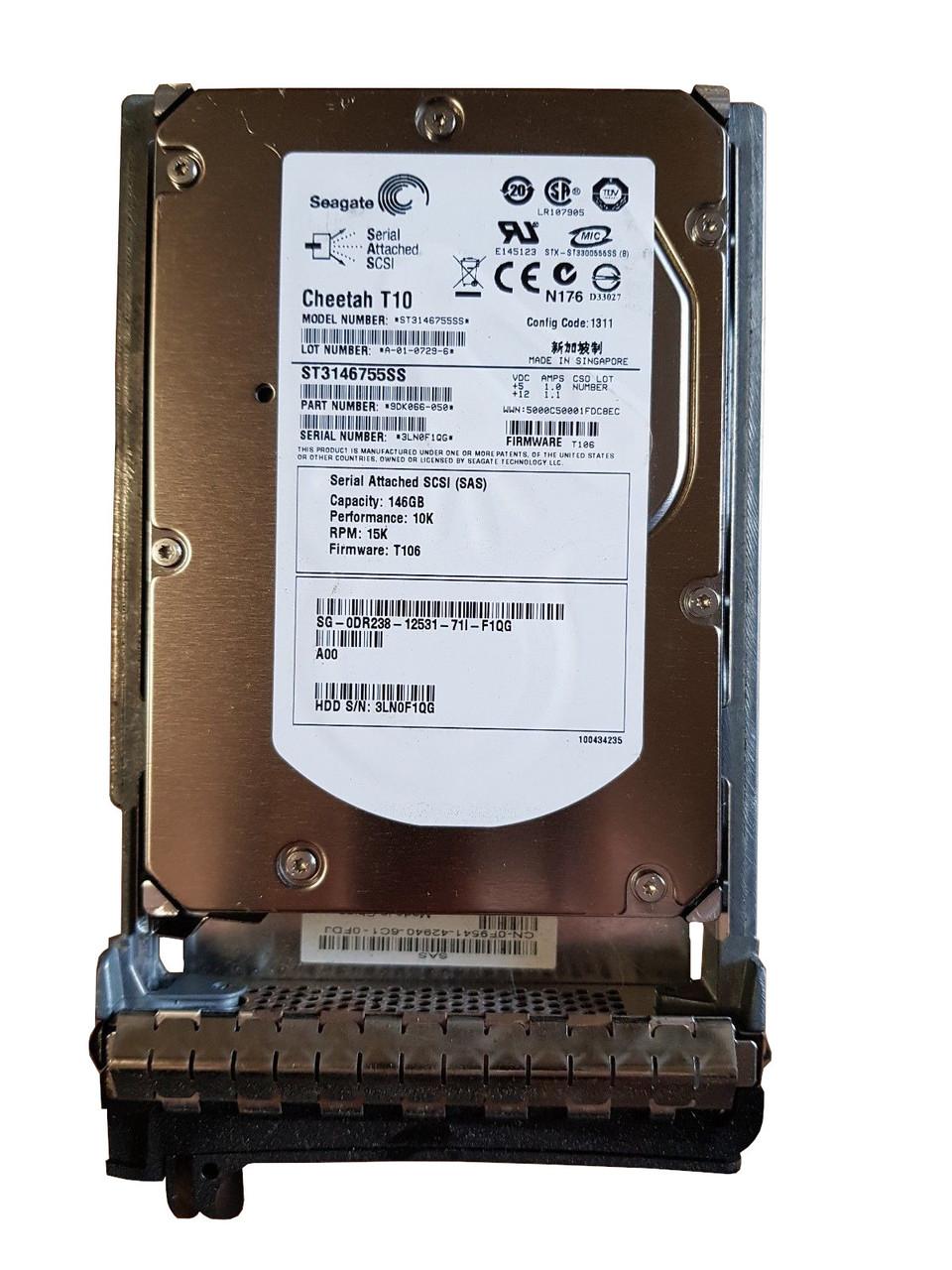"""Dell 146GB 3G 10K 3.5/"""" SAS WR711 HDD Hard Drive w// Tray"""